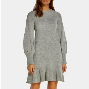 ELIZA J Puff Sleeve Knit Sweater Mini Dress Size L